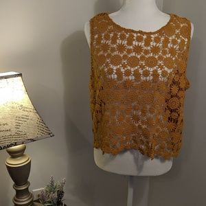 Forever 21 Plus Size Yellow Crocheted Tank Top